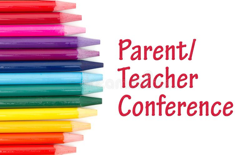 Parent Teacher Conference message with colored watercolor pencils. Over white vector illustration