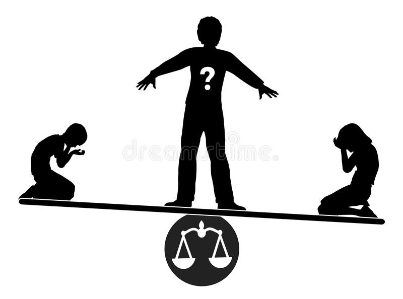 How to handle sibling conflict. Parent tries to manage the dispute of his children fairly vector illustration