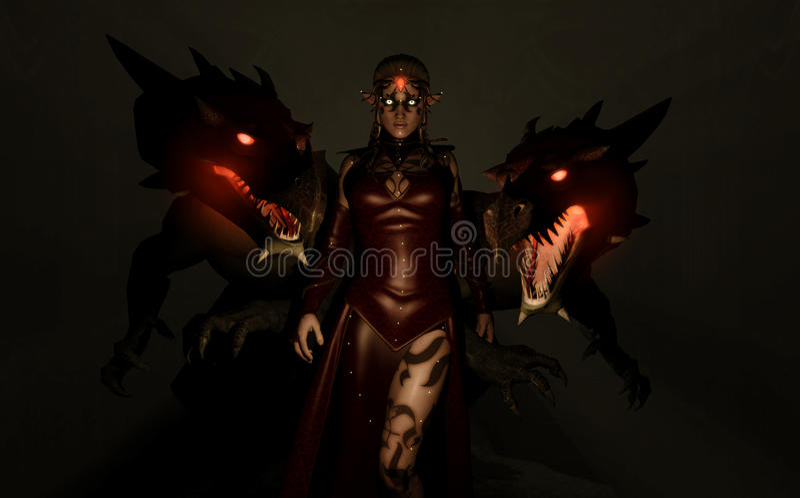 Parentes do dragão do Sorceress ilustração stock