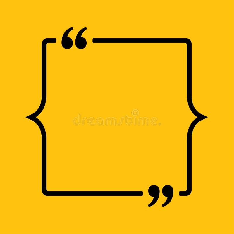 Parenthèse carrée de citation de bulle de la parole de vecteur illustration de vecteur