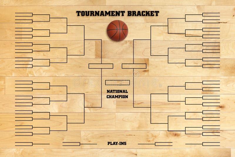 Parenthèse de tournoi de basket-ball sur le plancher en bois de gymnase photographie stock