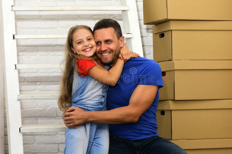 Parenthood and family time concept. Dad and daughter stock image