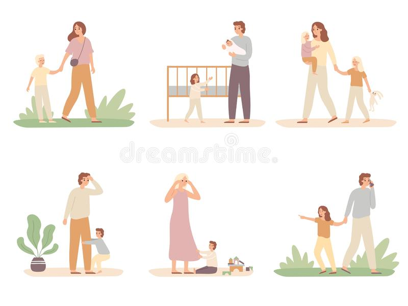 Parenthood problems. Crying child and tired parents, exhausted dad and kids want attention from mother vector. Parenthood problems. Crying child and tired stock illustration