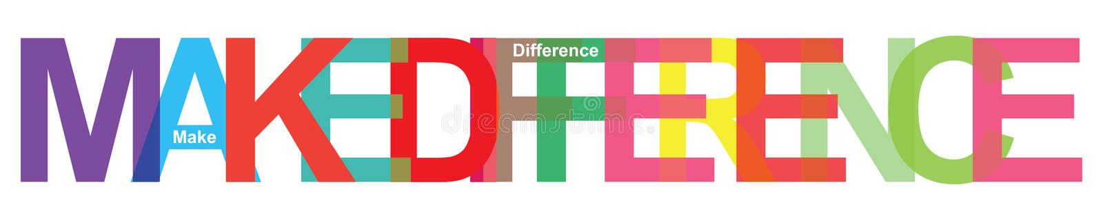Make difference. Colorful make difference word on white stock illustration