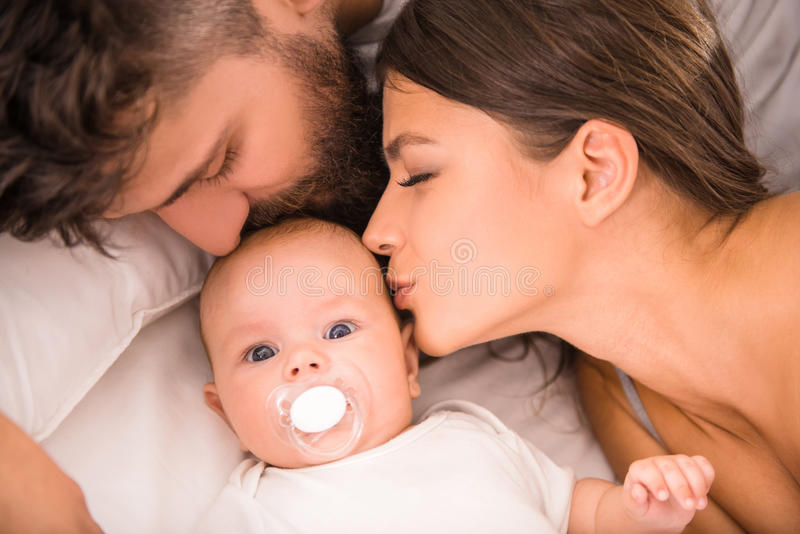 Parents and baby stock photos