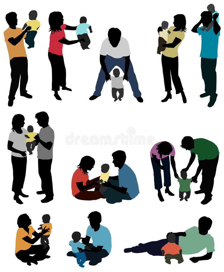 Parents and baby - silhouettes royalty free illustration