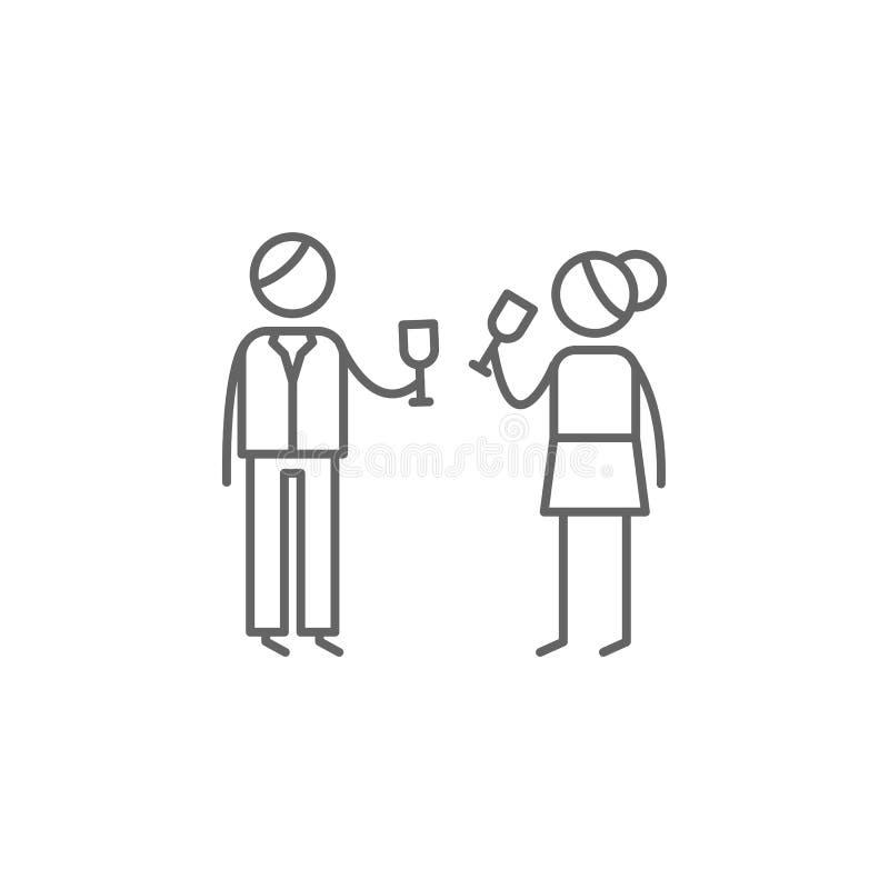 Parents, célébrant, icône de boissons r Ligne mince ic?ne pour la conception de site Web et le d?veloppement, d?veloppement d'APP illustration libre de droits