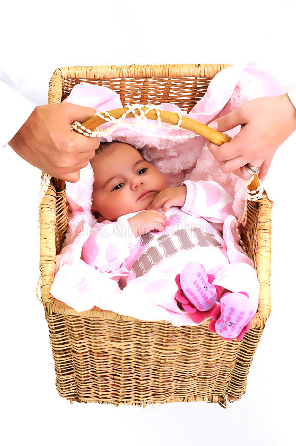 Free Parents Carrying Newborn Baby In Basket Royalty Free Stock Images - 15869029