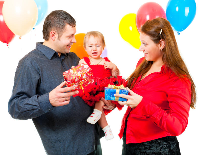Download Parents Celebrate Their Daughter's Birthday Stock Image - Image: 22147477