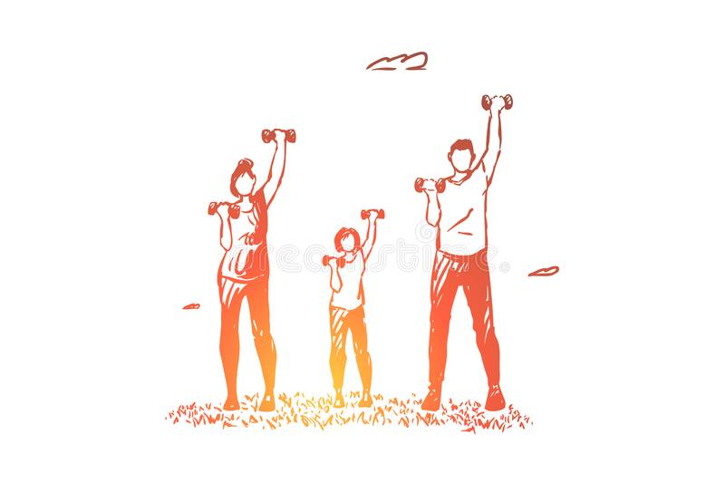Parents with child lifting dumbbells, people in sportive clothes doing fitness exercise, healthy lifestyle royalty free illustration