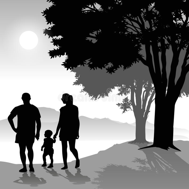 Parents with child stock illustration