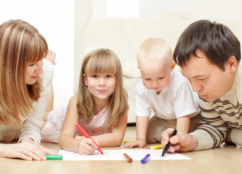 Parents with children the drawing stock photography