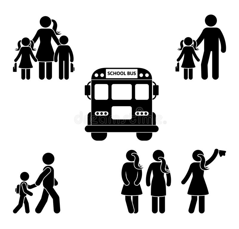 Parents and children before going to school stick figure. Bus, student, mother, father, boys, girls black icon. Parents and children before going to school vector illustration
