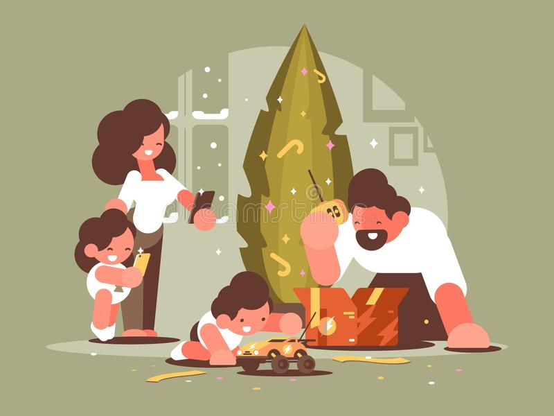Parents with children open Christmas presents vector illustration