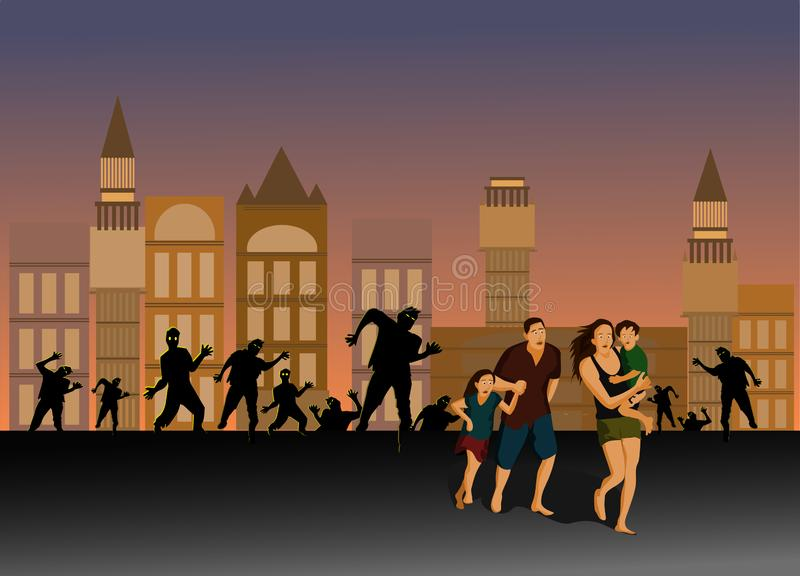 Parents and children are running away from the zombies on the city streets. royalty free illustration