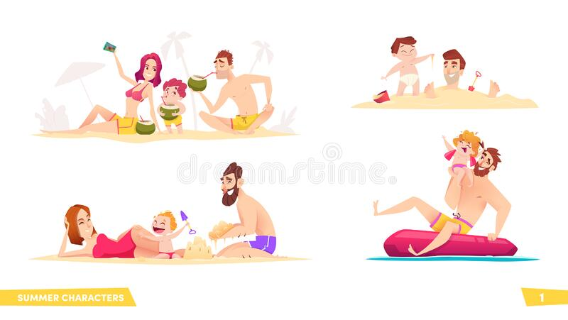 Parents and children on sandy beach. Summer family collection. Family summer resting. Parents and children on sandy beach. Summer family collection. Family royalty free illustration