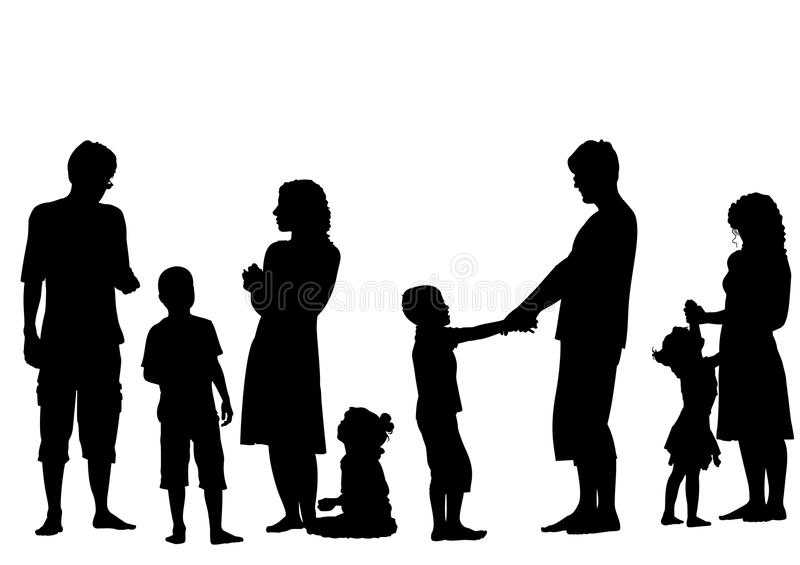 Parents with children silhouette vector stock illustration