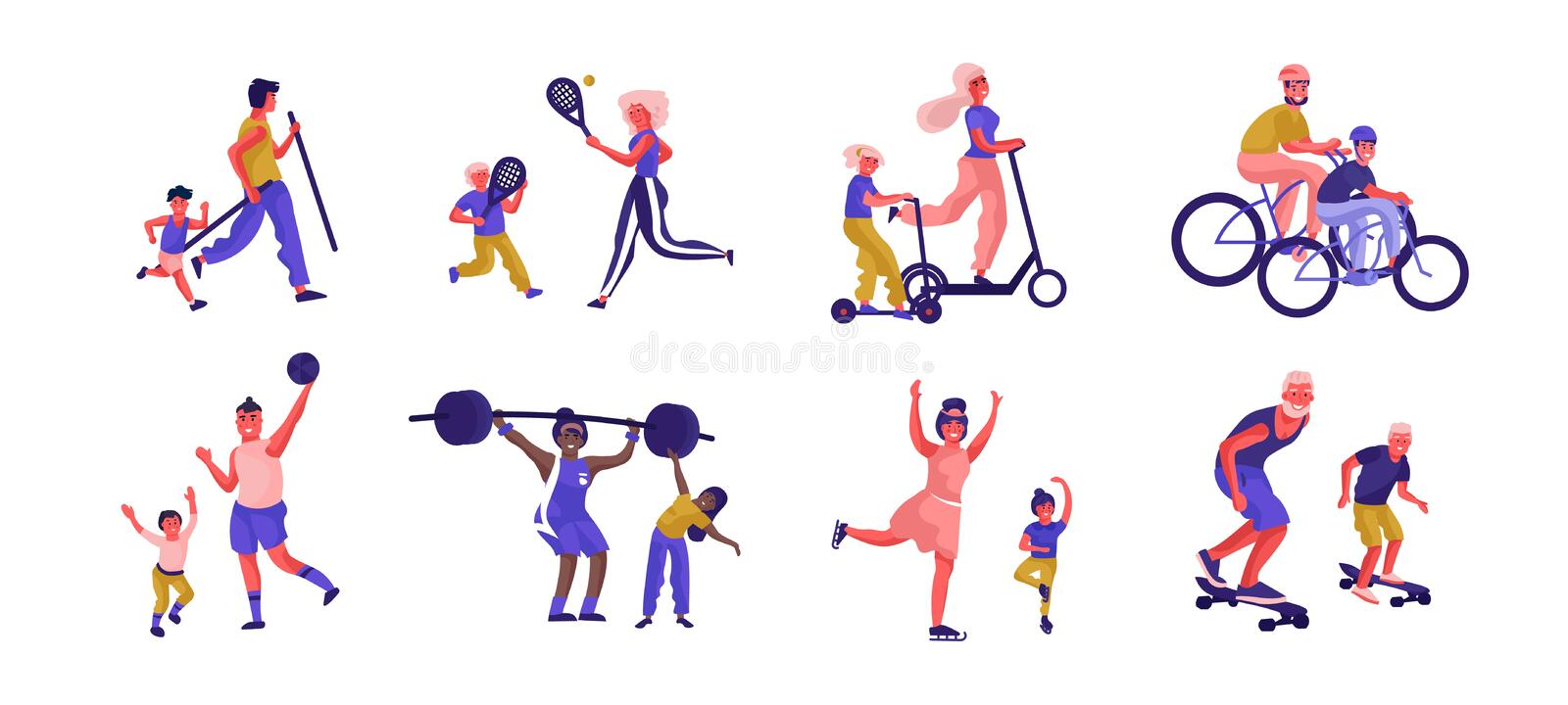 Parents and children sport activities. Cartoon active family characters playing games and spending time together. Vector. Illustration father, mother and kids stock illustration