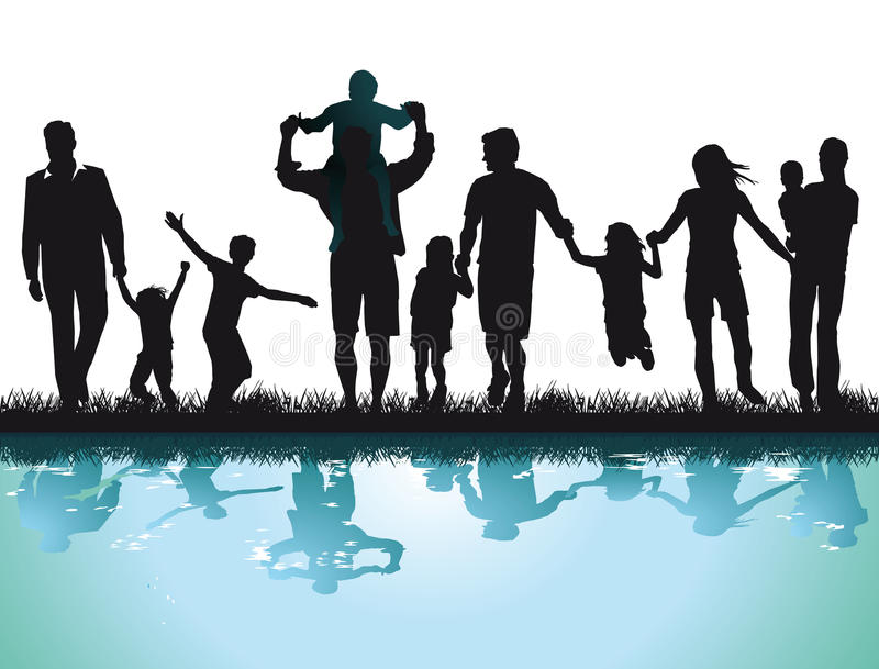 Parents and children beside the water royalty free illustration