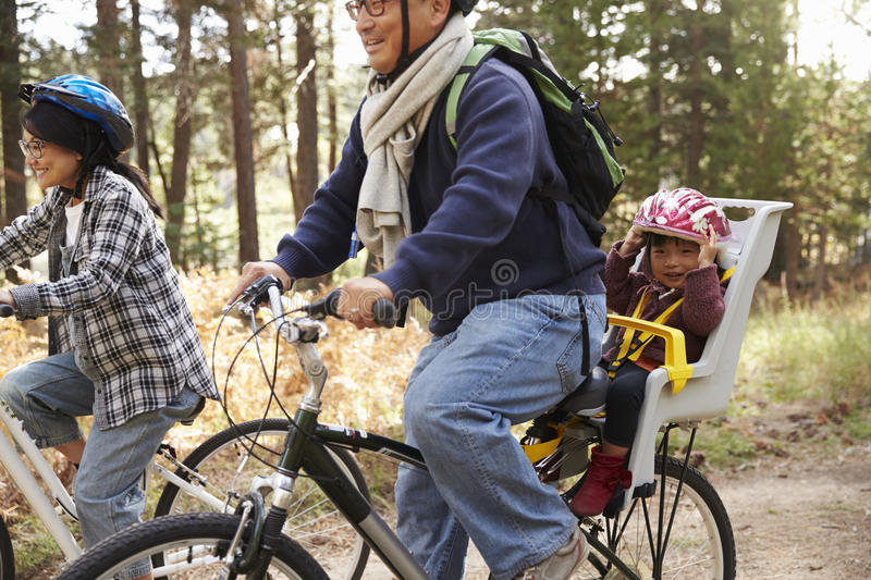Parents cycling in a forest with toddler daughter, close up royalty free stock photo