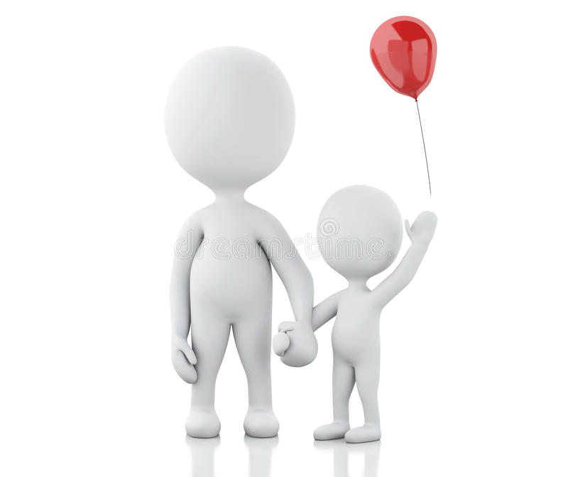 parents 3d avec les enfants et le ballon illustration stock