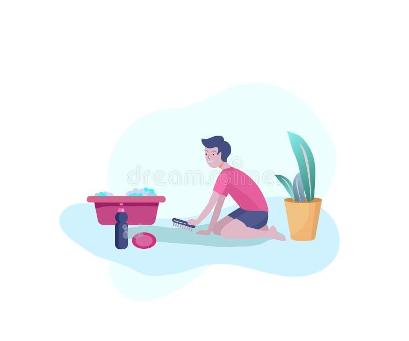 Parents de aide d'enfant avec le nettoyage à la maison, le tapis de peu de garçon et le plancher de lavage et de nettoyage Bande  illustration stock