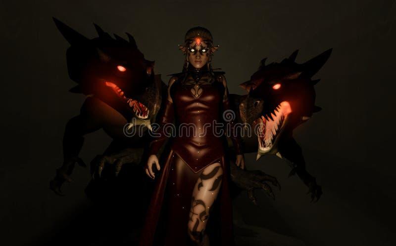 Parents de dragon de sorcière illustration stock