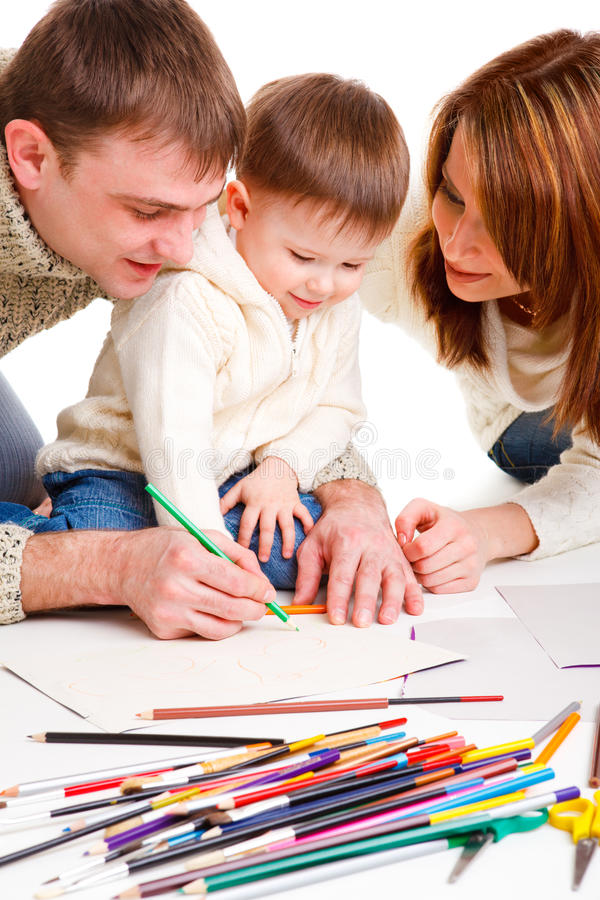 Parents drawing with son royalty free stock image