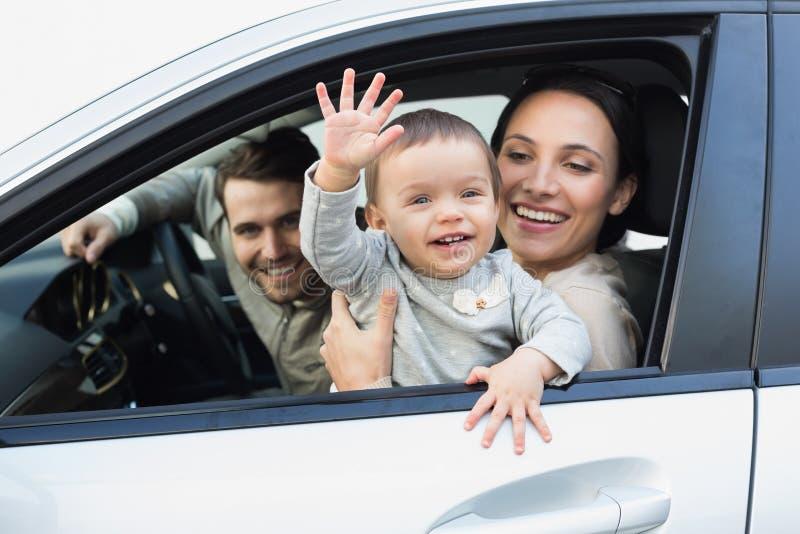 Parents et bébé sur une commande photo libre de droits