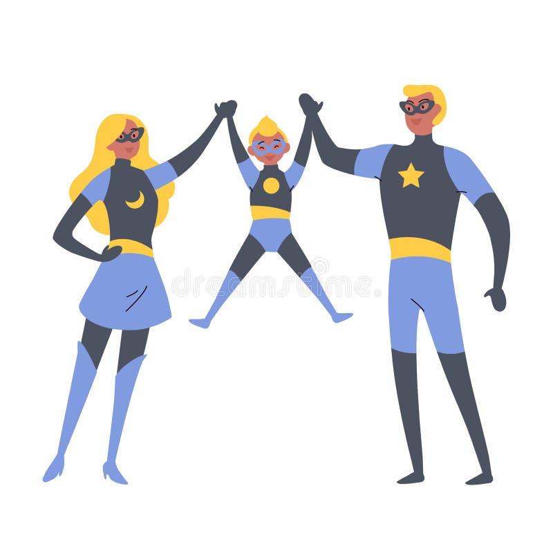 Parents et enfant jouant des super héros, habillés dans des costumes de superhéros illustration de vecteur