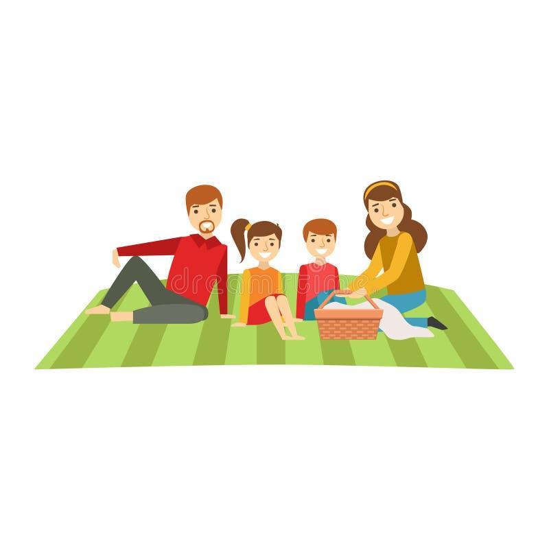 Parents et enfants ayant le pique-nique, famille heureuse ayant la bonne illustration de temps ensemble illustration libre de droits