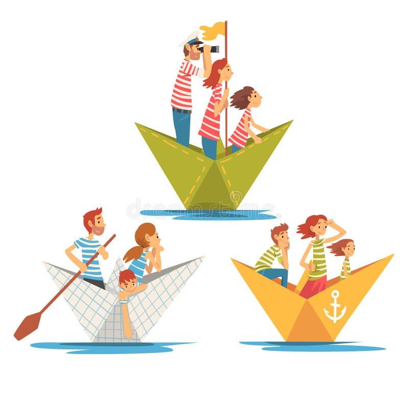 Parents et enfants dans le canotage rayé de T-shirts sur l'ensemble de rivière, illustration de vecteur de bateaux de papier de f illustration stock