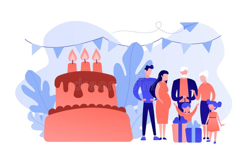 Family tradition concept vector illustration. Parents, grandparents and children with presents at big cake with celebrating, tiny people. Family tradition royalty free illustration