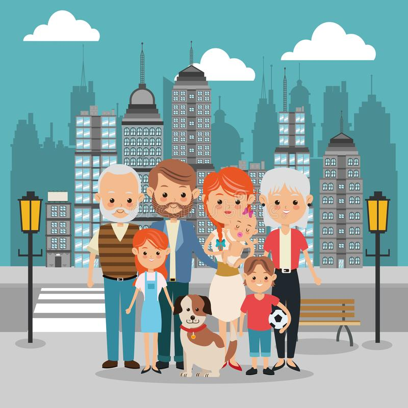 Parents, grandparents and kids icon. Family design. City Landsca. Family cartoon concept represented by parents, kids, grandparents and dog icon over city stock illustration