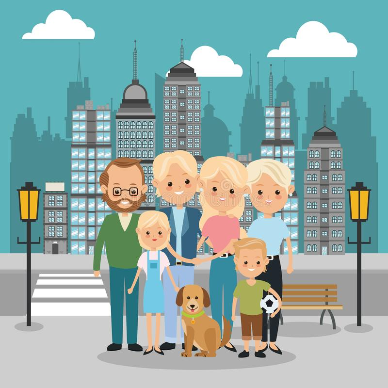 Parents, grandparents and kids icon. Family design. City Landsca vector illustration