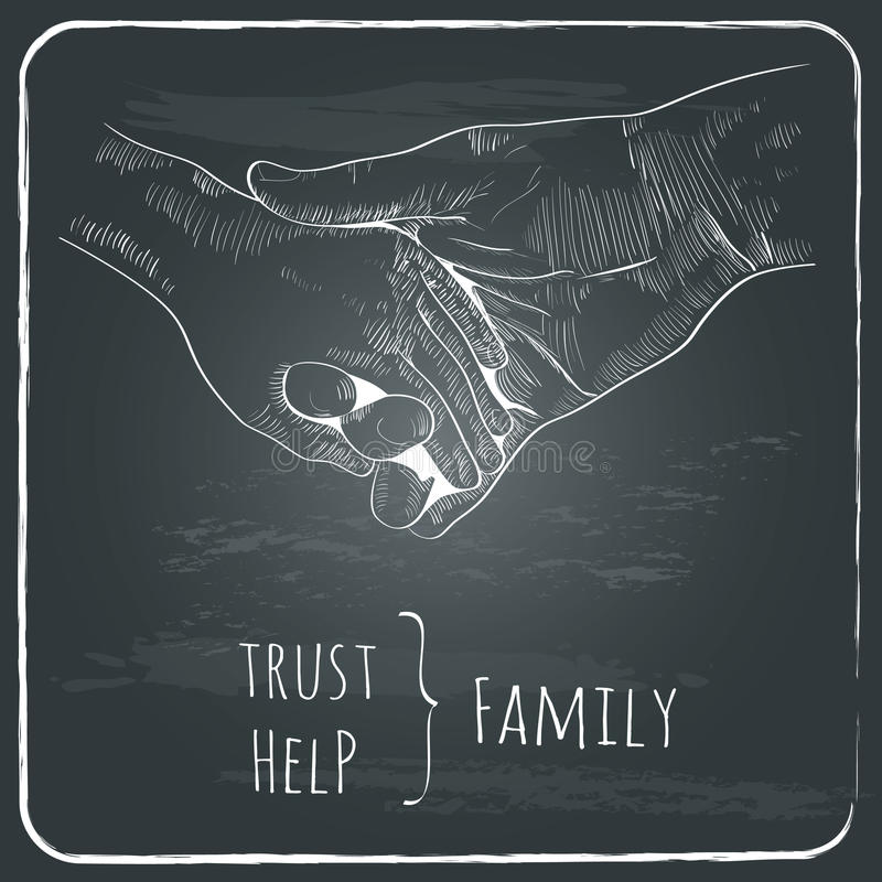 Parents hand lead his child , trust family concept. Monochrome vector illustration retro styled hand drawn design element on chalkboard dark grunge background vector illustration