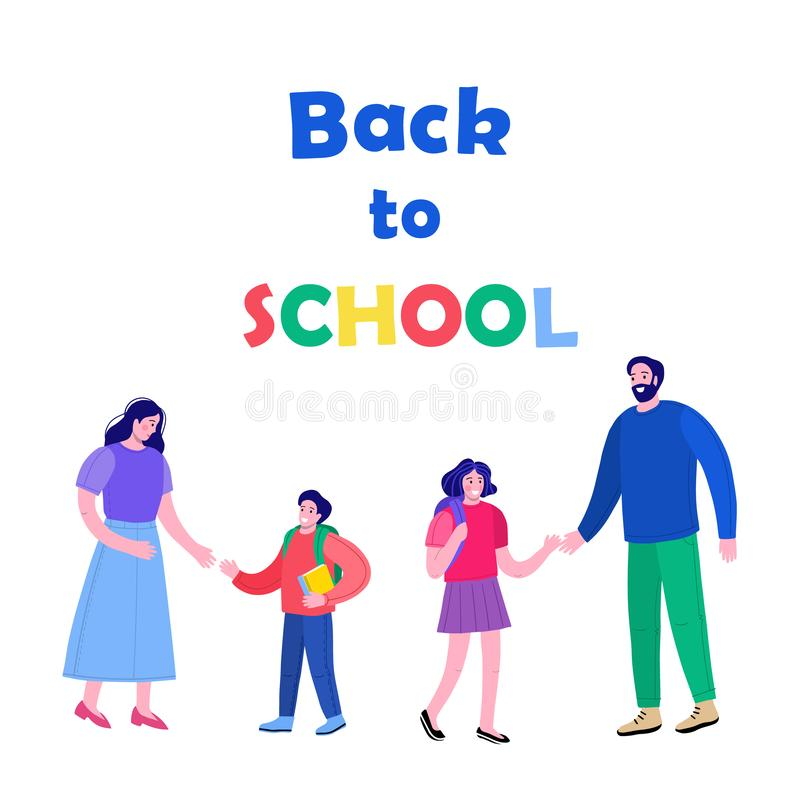 Parents hand in hand with their children going to school vector illustration