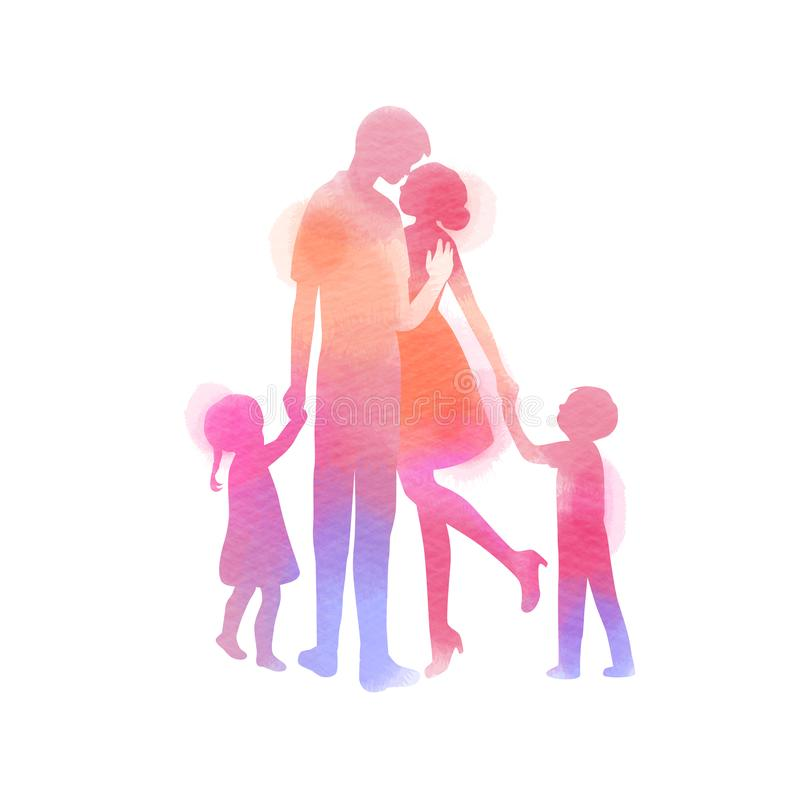 Parents having good time with their child.  Happy family walking together isolated on white background. Watercolor style.  royalty free illustration
