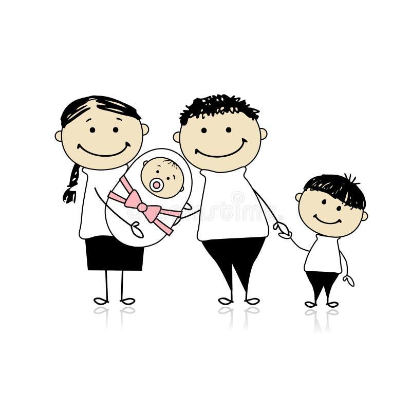 Parents heureux avec les enfants, chéri nouveau-née dans des mains illustration libre de droits