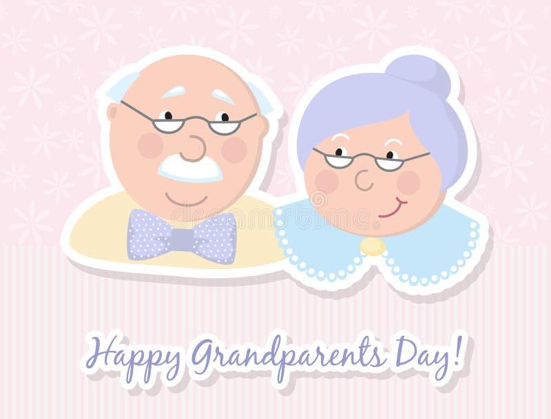Parents heureux Illustration de dessin animé de vecteur Jour de grands-parents Vieux couples Amour illustration de vecteur
