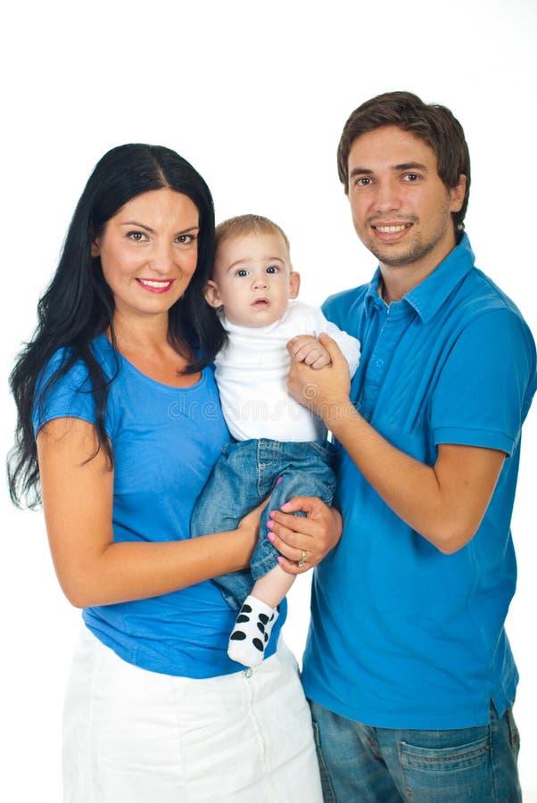Parents holding their baby boy stock photos
