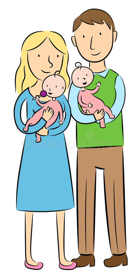 Download Parents Holding Their Baby Twins Stock Vector   Illustration Of  Hold, Happy: 21018234