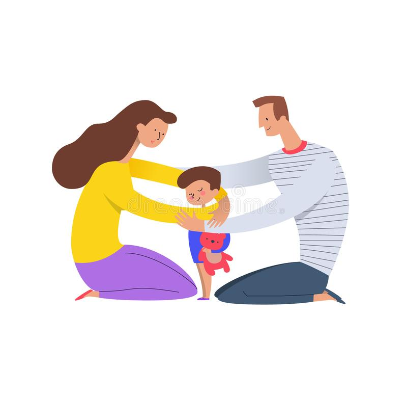 Parents hugging son. Mom and dad embracing their child holding teddy bear. Concept of loving family and happy parenting royalty free illustration