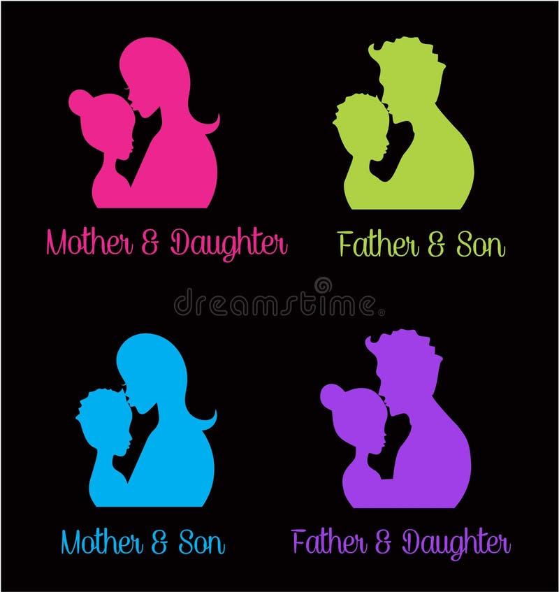 Parents hugging their children. Logos royalty free illustration