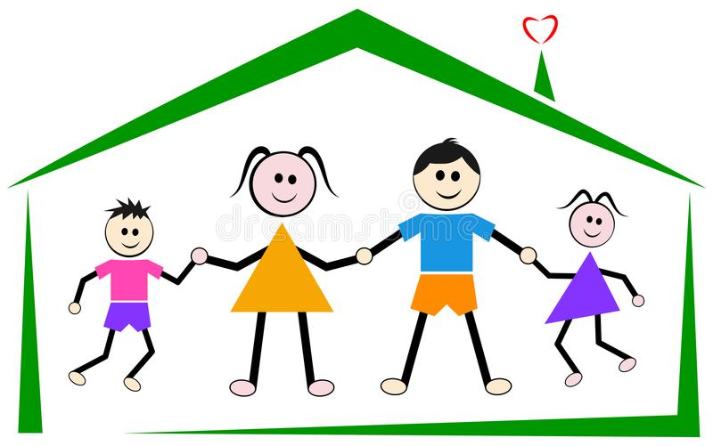 Parents kids at home for happy family royalty free illustration
