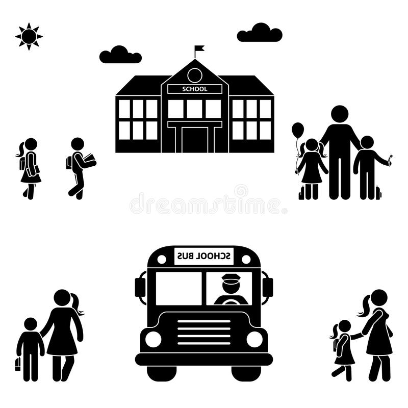 Parents with kids stick figure. School building and bus black sing symbol. stock illustration