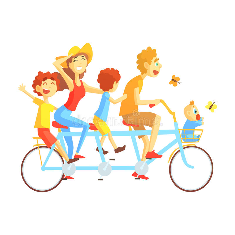 Parents And Kids On Triple Seat Bicycle Riding Outdoors In Summer, Happy Loving Families With Kids Spending Weekend royalty free illustration