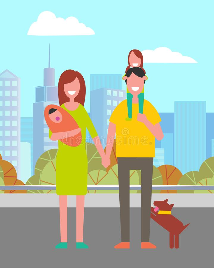 Parents and Kids Walking in City, Leisure Vector. Smiling parents holding children, woman with infant, father with daughter and dog. Family leisure in city stock illustration