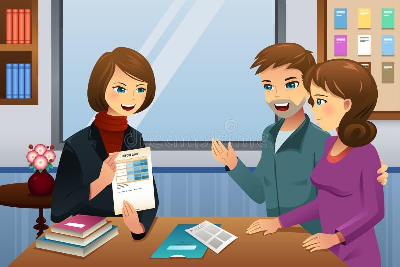 Parents la reunión del profesor stock de ilustración