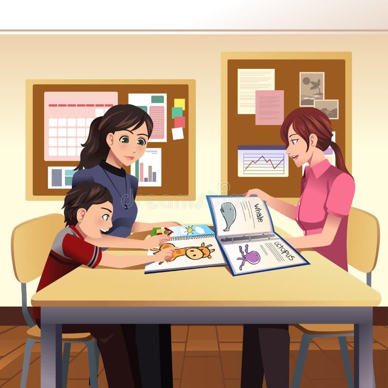 Parents la reunión del profesor ilustración del vector